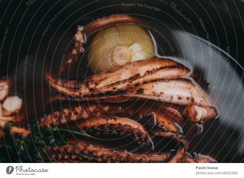 Cooking octopus Octopus broth Seafood Close-up Lunch Gourmet Dish Table Food Fresh Plate Meal Dinner Restaurant Colour photo healthy Tasty Delicious fish