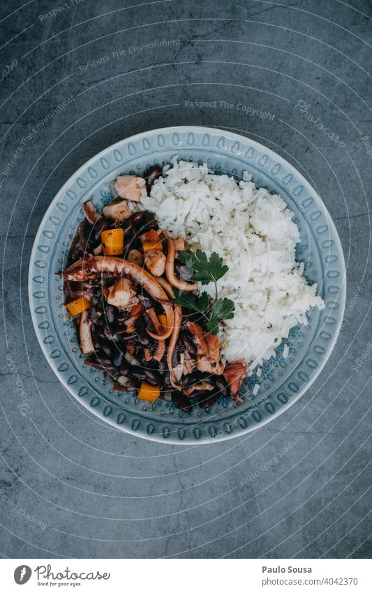 Octopus with beans dish Beans Dish Plate Food Mediterranean food Portugal cuisine Seafood healthy Nutrition Colour photo mediterranean Lunch Cooking seafood