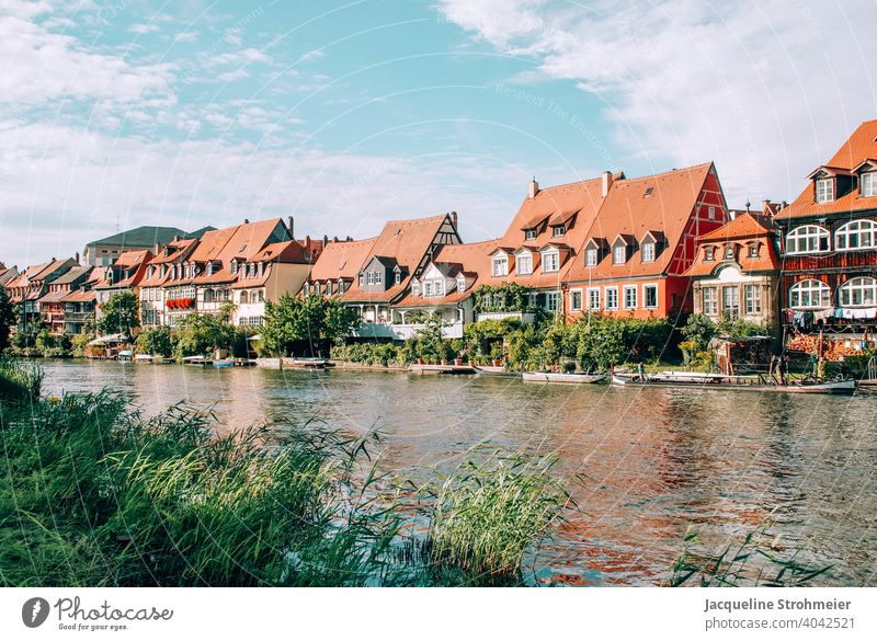 Little Venice in Bamberg, Germany Regnitz river Upper Franconia Bavaria World heritage Fishermen's Village row houses Housefront Exterior shot Architecture