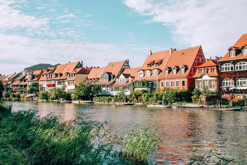 Little Venice in Bamberg, Germany Regnitz river Upper Franconia Bavaria World heritage Fishermen's Village row houses Housefront Exterior shot Architecture