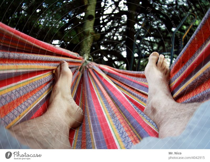 hang out Hammock Feet Skin Masculine Garden Environment Summer Contentment Relaxation Calm chill Break Goof off Weekend Barefoot Happy Warmth Serene Comfortable