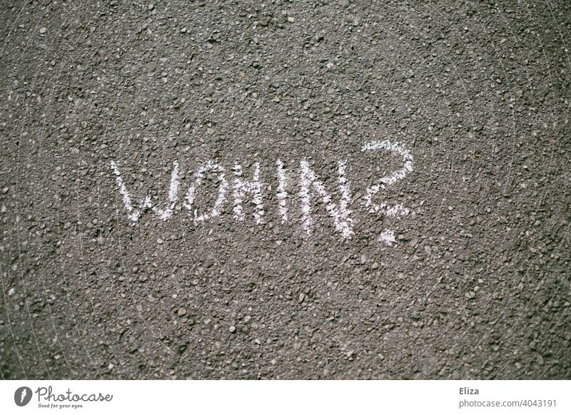 """The question """"Where to?"""" is written in chalk on the street. Disorientation. Whereto Road marking Direction authored Future planning Coaching Groundbreaking"""