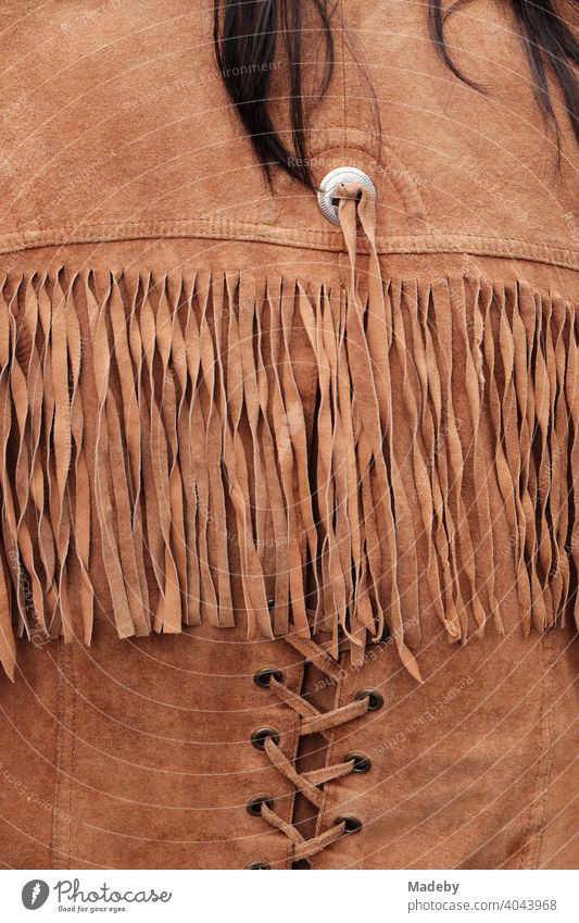 Suede jacket with fringes in Wild West style at the flea market at the Golden Oldies in Wettenberg Krofdorf-Gleiberg near Gießen in Hesse Cowboy Leather Jacket