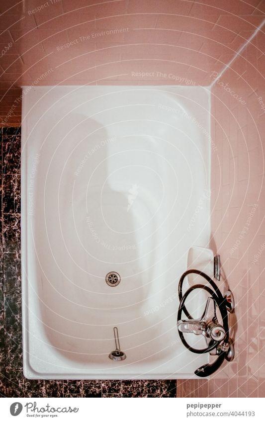old bathroom with pink tiles bathroom tiles Bathroom fittings Bathroom sink Bathroom tub Bathtub Old Retro Retro Colours retro style Tile Interior shot