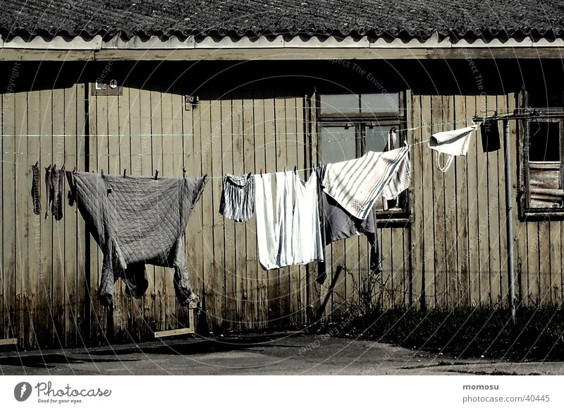 barracks idyll Shed Clothesline Social Wooden hut Architecture Poverty standard of living
