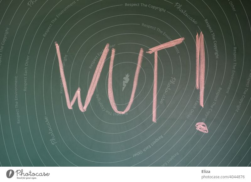 Word anger written on a blackboard with red chalk Anger Red authored Blackboard Chalk emotion Sour rabid Aggravation Exclamation mark Emotions Aggression Text