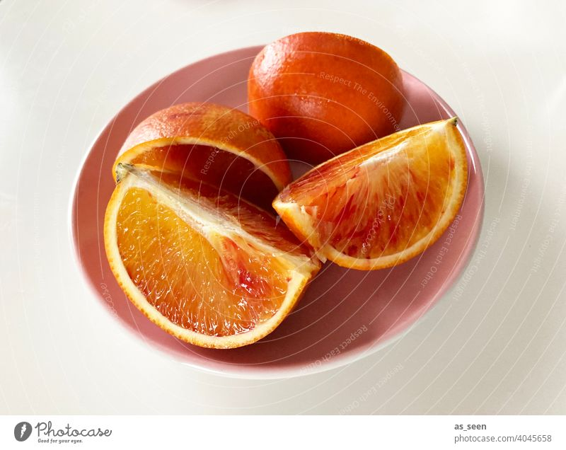 Fruit plate with blood oranges Orange Column fruit Fresh Juicy Sour citrus fruit Vitamin C Healthy Healthy Eating Delicious Food Vitamin-rich Food photograph