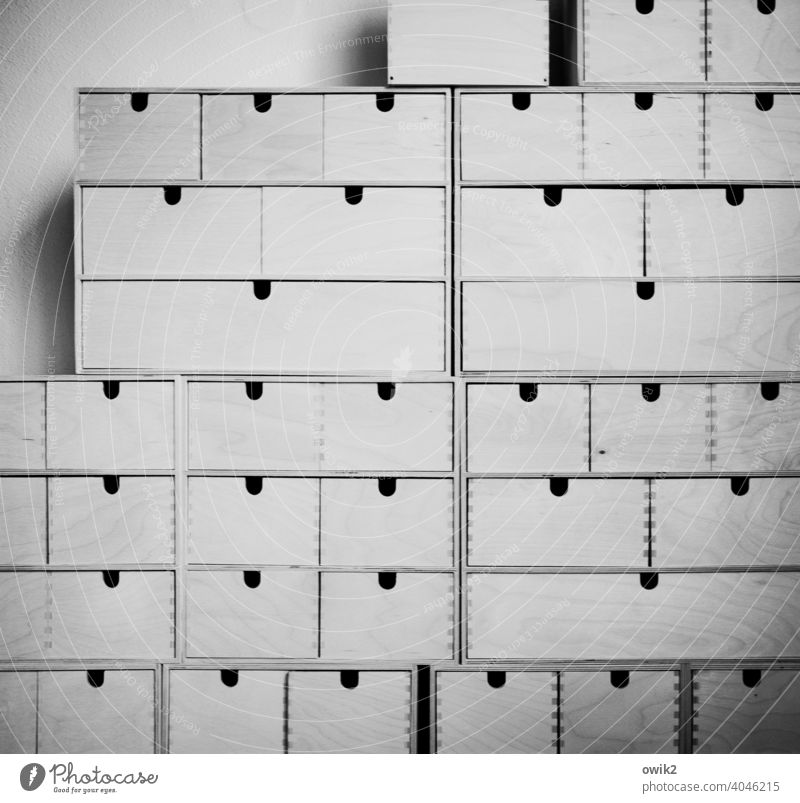 Ordnungsamt Containers and vessels Drawer Stack Wood Arrangement Many Together Firm Interior shot Pattern Structures and shapes Deserted Detail Long shot