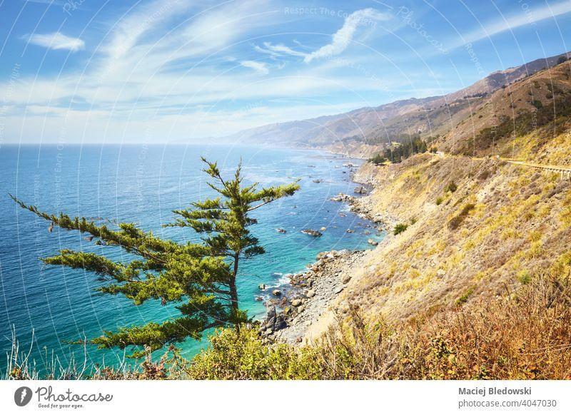 Beautiful California coastline along Pacific Coast Highway, USA. beach ocean travel beautiful nature landscape water mountains scenery trip scenic America