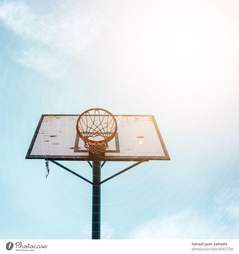 street basketball hoop, sport equipment sky blue silhouette circle net sports equipment play playing playful old park playground outdoors minimal bilbao spain