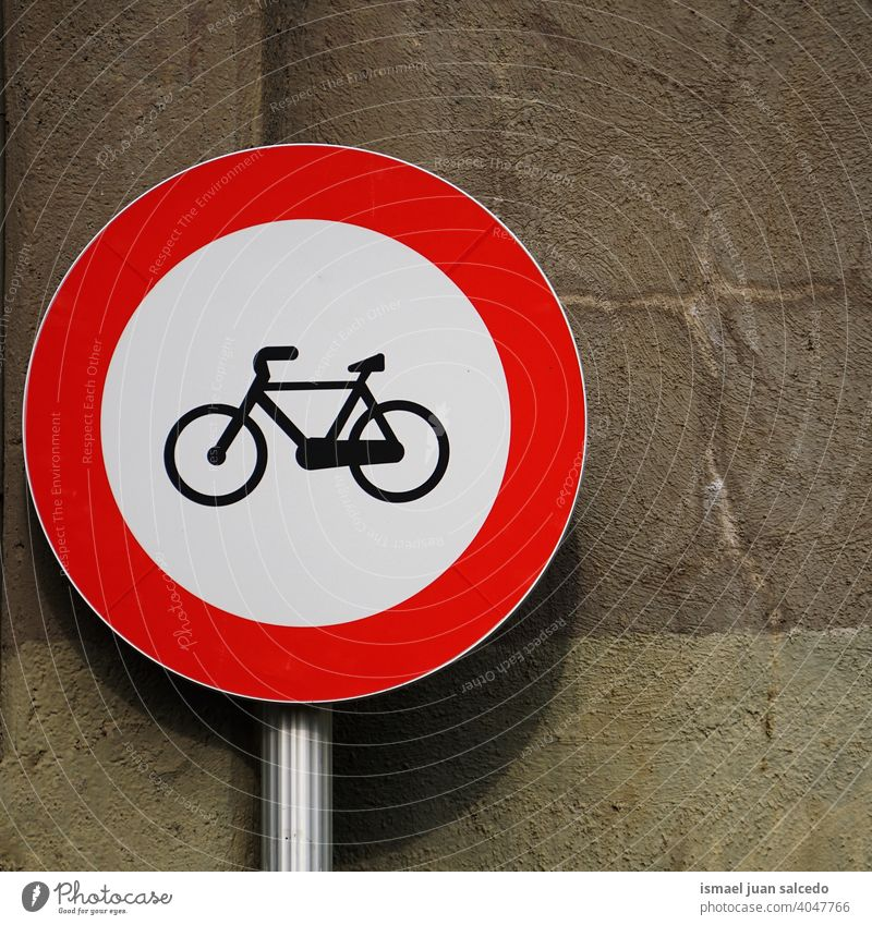 bicycle traffic signal on the wall bike bicycle signal road warning street city road sign symbol way caution roadsign advice safety outdoors bilbao spain circle