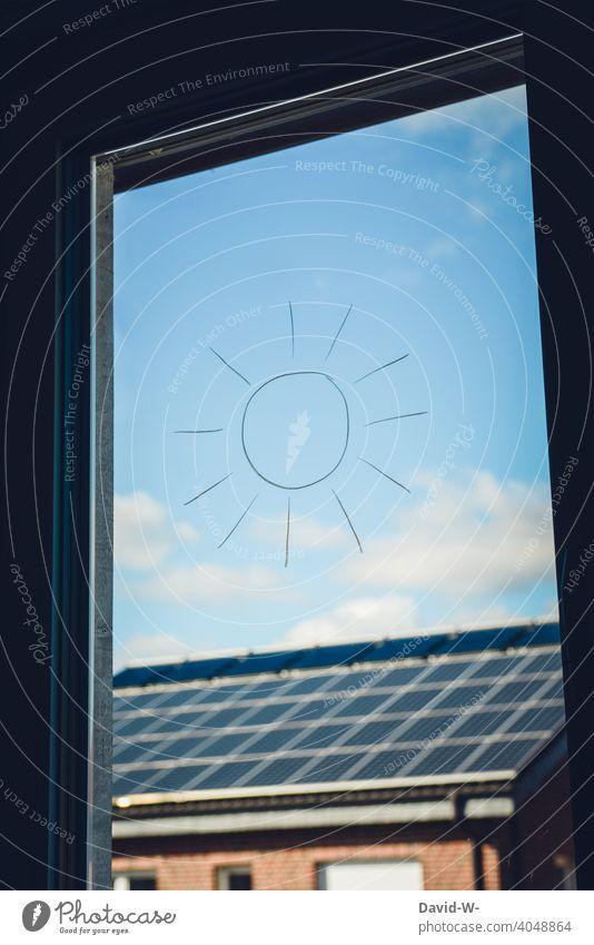 Solar energy / Solar energy - Sun / Symbol and sign Renewable energy photovoltaics solar Climate heat source energy saving environmentally conscious