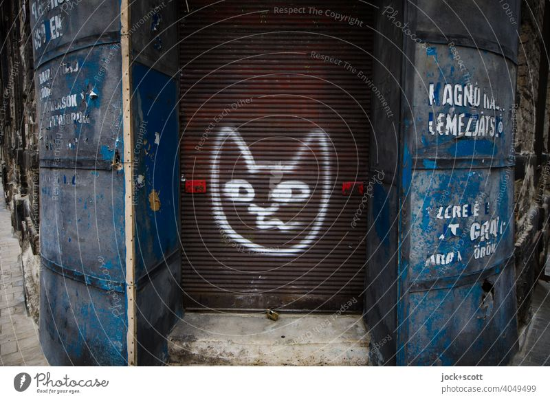 drawn cat head on the shutter of an abandoned shop business Closed forsake sb./sth. business discontinuation Corner Lettering Weathered Retro Spray Street art