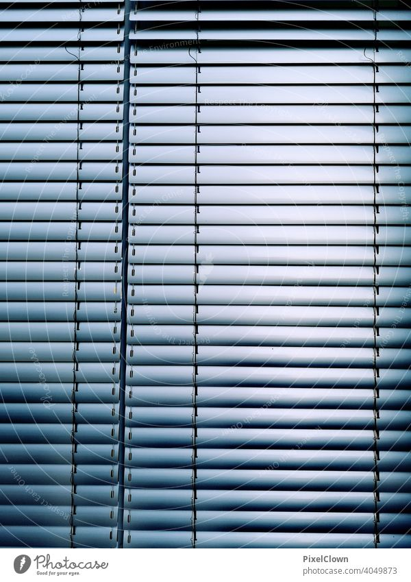 Roller blind for the window Window Venetian blinds Closed Shadow Roller shutter Structures and shapes Deserted Line House (Residential Structure) Gloomy Blue