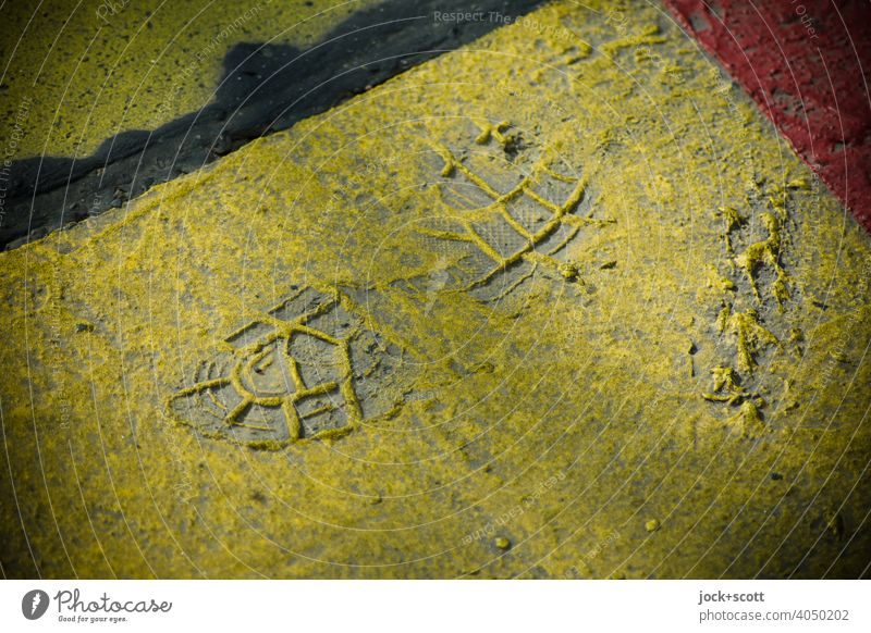 Impression of a shoe in a dried layer of paint shoe print trace Structures and shapes Yellow Penumbra Neutral Background Background picture Minimalistic Dirty