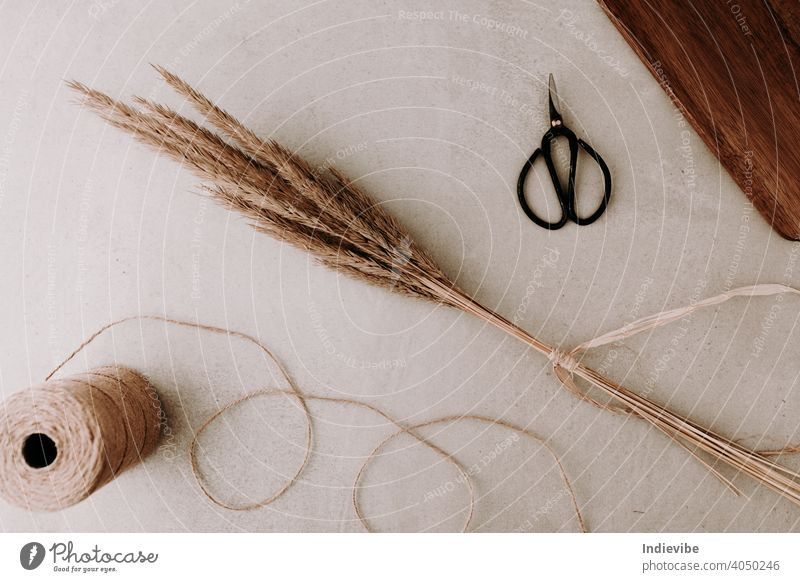 A bunch of dried grass tied with natural raffia and a black scissors and a roll of rope string on grey stone background.  Flat lay, top view. Natural colours.