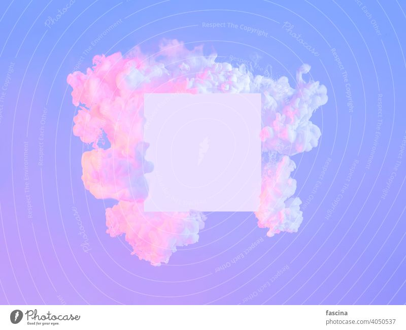 White square in neon clouds, copy space. Abstract violet pink purple frame white creative empty abstract background cyberpunk fluorescent trendy technology