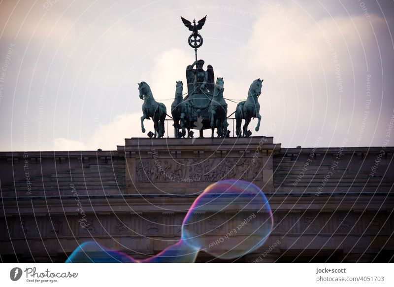 Brandenburg Gate and the bubbles Sightseeing Historic Tourist Attraction Landmark Capital city Quadriga Pariser Platz Berlin Sky Clouds Soap bubble Back-light