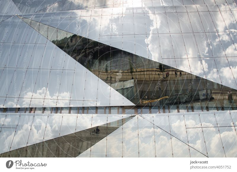 Architecture Square, practical, beautiful Glas facade Reflection square structure reflecting Cube Berlin Abstract washingtonplatz Window Clouds