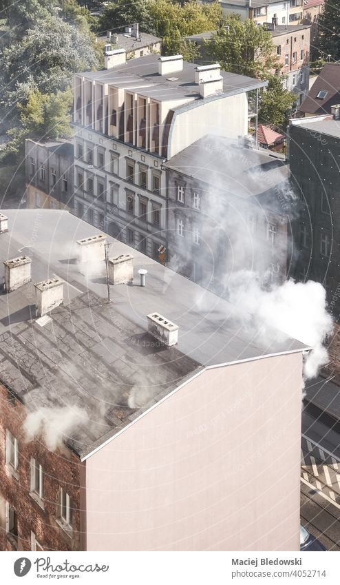 Aerial view of fire of an old townhouse building in Szczecin, Poland. smoke city aerial szczecin danger fear insurance accident poisonous residential risk burn