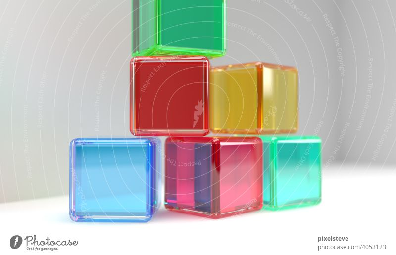 Colorful transparent plastic cubes against light background Colour variegated Plastic Acrylic Glass game Toys Playing Child free time 3D fun rendering Yellow