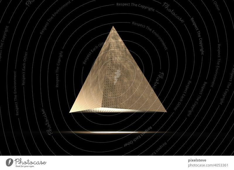 Golden futuristic pyramid against black background Pyramid Metal Dark Black Brass UFO Extraterrestrial Aircraft flying object Landing Illuminate Light spot jet