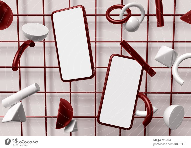 3D Illustration. Two smartphones with blank white screen. 3d mobile background geometric illustration display modern object touchscreen device element cellphone