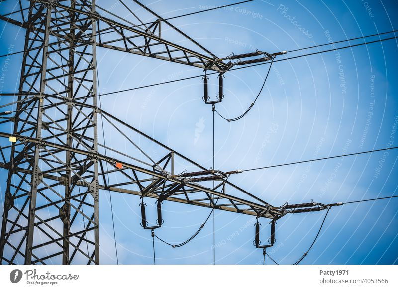 Power pole detail view Electricity pylon Transmission lines Energy industry Technology Industry High voltage power line Cable Exterior shot stream