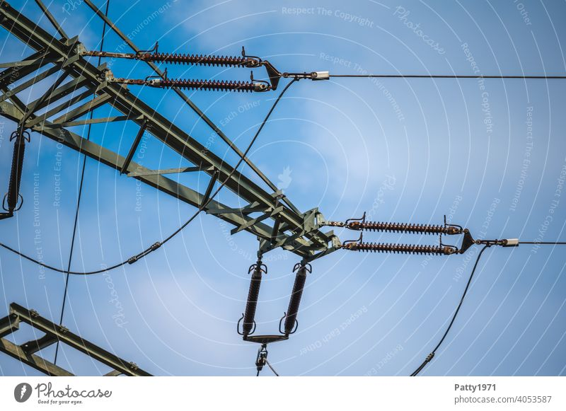 Power pole detail view Electricity pylon Energy industry Transmission lines Cable Technology High voltage power line Detail Industry Exterior shot Wire Sky
