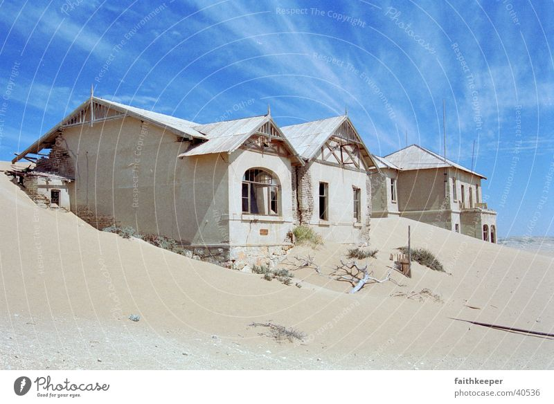 ghost town Namibia House (Residential Structure) Ghost town Desert Sand Blue sky