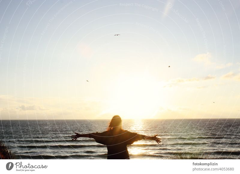 young woman with outstretched arms in front of sunset at the sea harmony Joie de vivre (Vitality) Freedom Wanderlust Ease Woman Infinity Sunset individuality