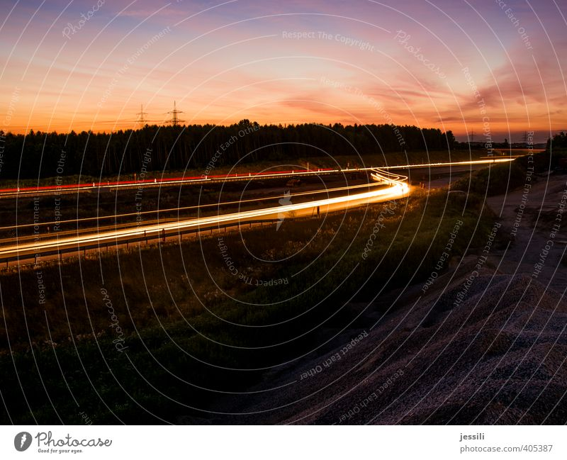 into the sun Transport Traffic infrastructure Road traffic Motoring Street Highway Vehicle Fatigue Relationship Speed Light Long exposure Colour photo