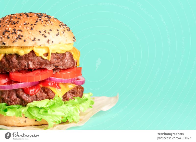Hamburger side view close-up isolated on a green background. barbeque beef big bread bun cheddar cheese cheeseburger colored colors comfort food copy space