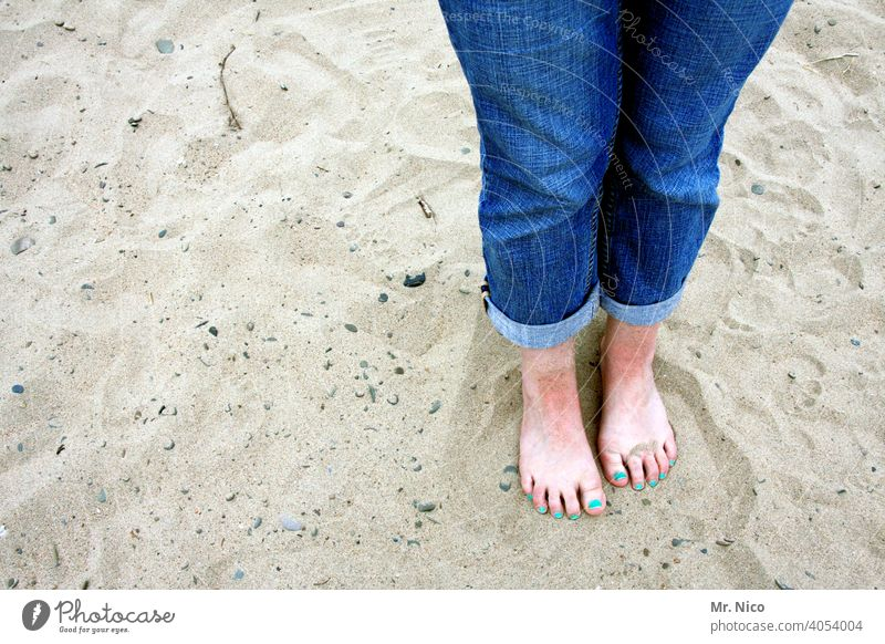 barefoot on the beach Legs Barefoot Feet Toes Woman Skin Feminine Nail polish Varnished Toenail Summer Relaxation feet Vacation & Travel Beach Sand Jeans Stand