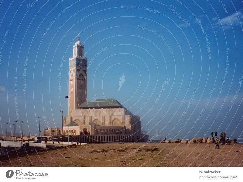 Casablanca002 Morocco Beach Mosque Moral Blue sky little clouds Human being Street