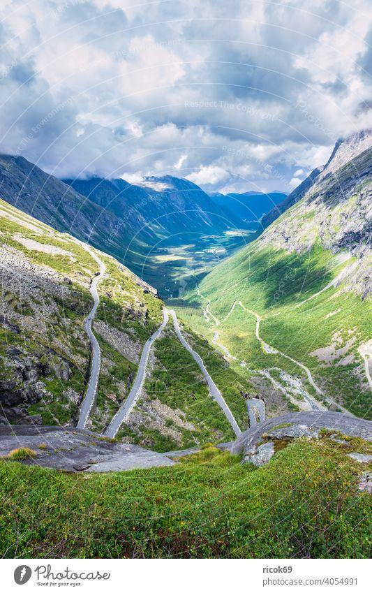 The Trollstigen road in Norway mountain Møre og Romsdal Street hairpin bend serpentine Summer vacation Landscape Nature destination mountains Valley