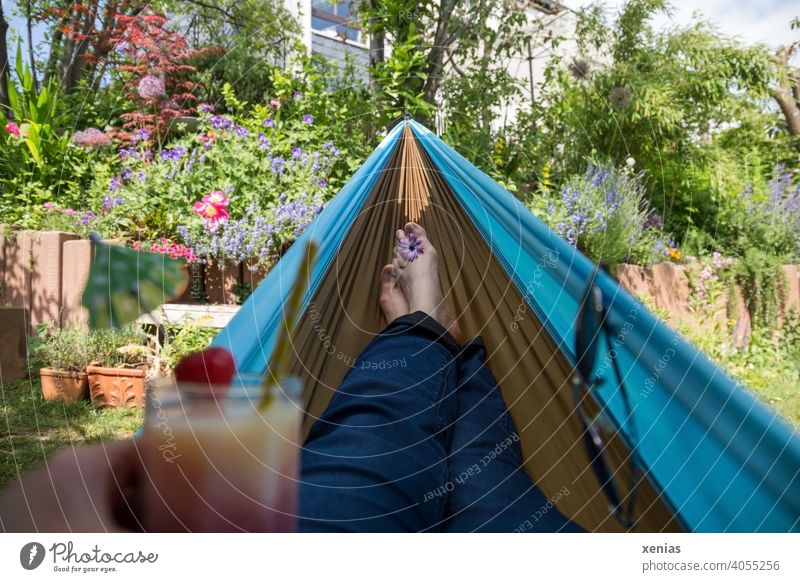 Holiday in the garden with a delicious drink in your hand and your feet in the hammock; pure relaxation Garden Hammock plants flowers Private Break Relaxation