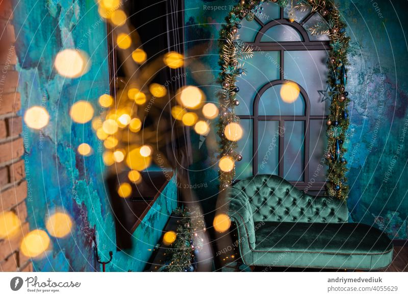 Room decorated to christmas celebration in blue luxury colors with light studio seasonal new interior decoration xmas winter year tree room holiday wall gift