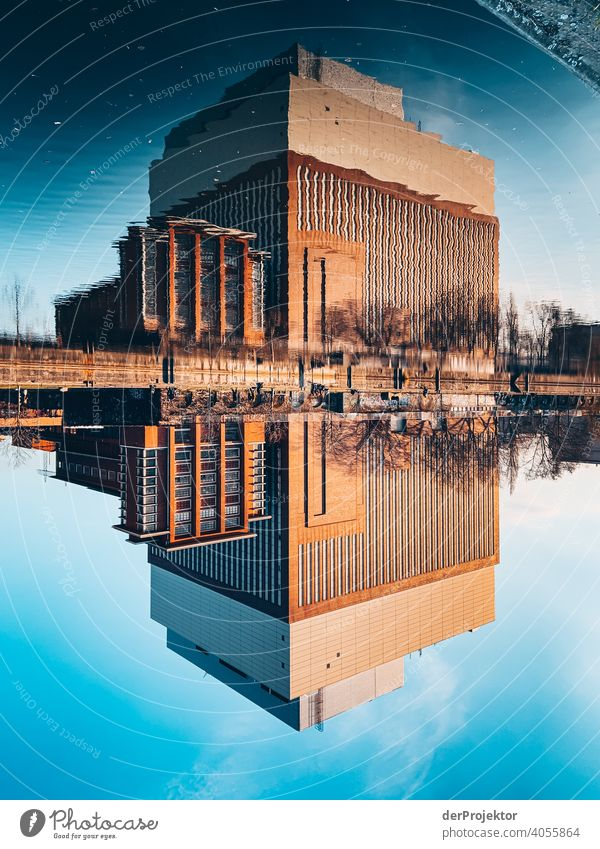 Reflection at the Spreeboard at the river Spree in Berlin Trip Tourism Copy Space middle touristic City life Contrast Copy Space bottom upside down Downtown