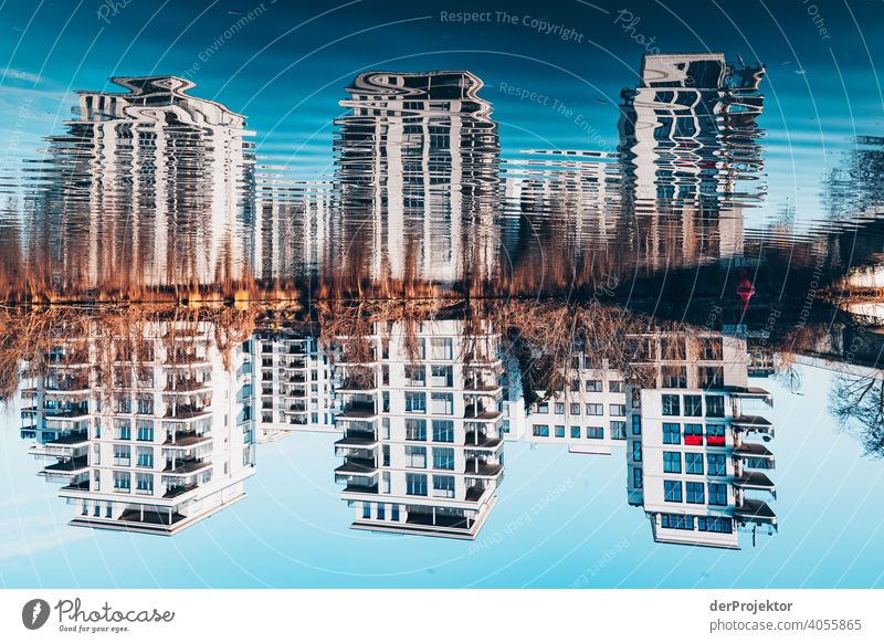 Residential buildings mirrored in the Spree river touristic Multicoloured Copy Space middle Reflection Manmade structures Capital city Architecture City life