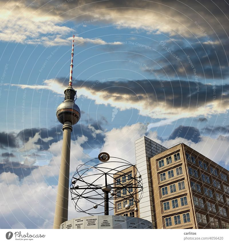 Berlin | Alexanderplatz World time clock Television tower Berlin TV Tower Landmark Sky Capital city Architecture Tourist Attraction Downtown Berlin
