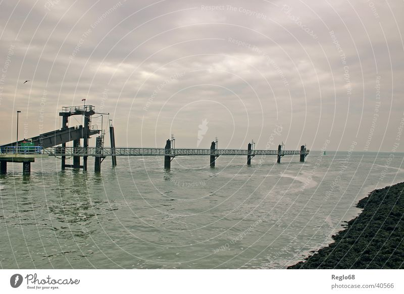 Sky Clouds Moody Island Threat Jetty North Sea Cover Bad weather Borkum