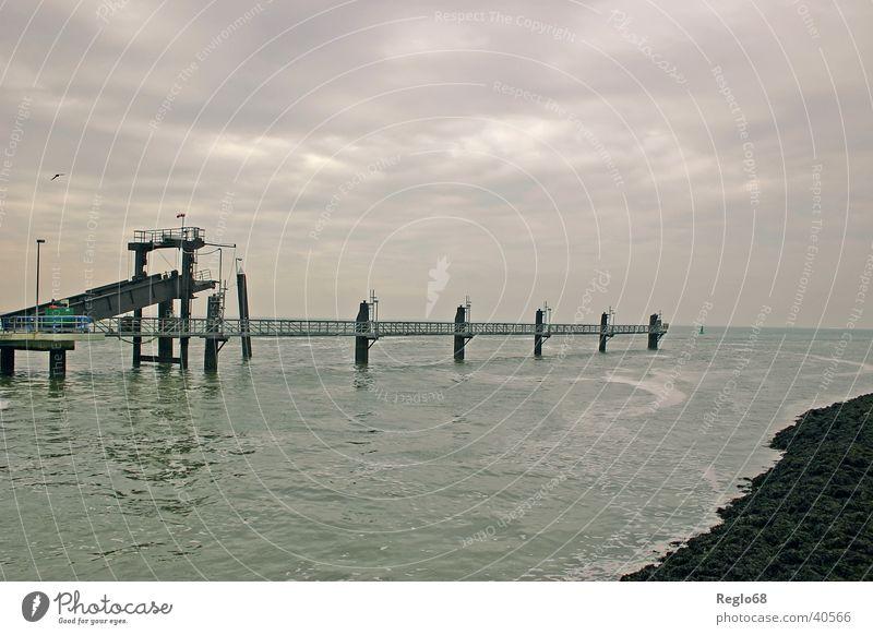 Sky Clouds Moody Island Threat Jetty North Sea Cover Bad weather Borkum