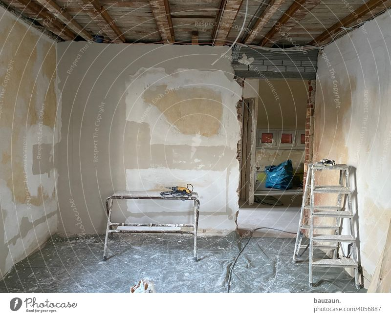 clean. Plaster Wall (building) Wall (barrier) Broken Deserted House (Residential Structure) Colour photo Building Redecorate Subdued colour Window Architecture
