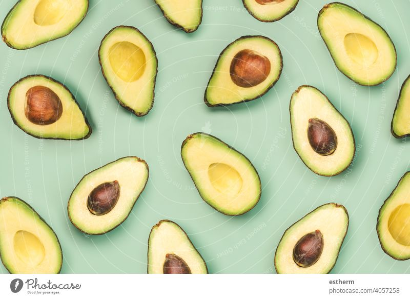 fresh ripe avocados pattern abstract appetizer eat freshness slices vegetarian diet ingredient health delicious lifestyle vegan vitamins grocery seed sliced