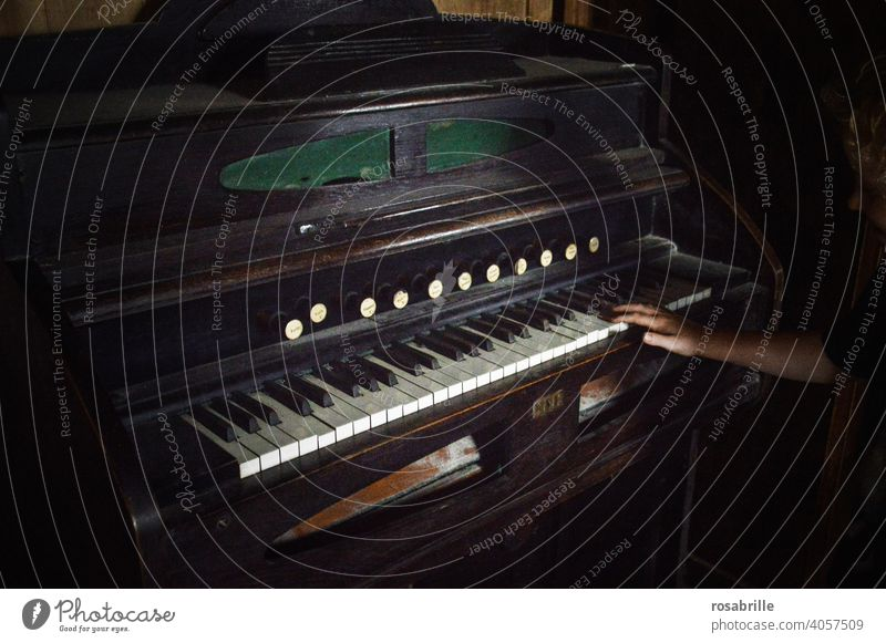 old piano with a lot of white keys and black ones in the spaces in between Piano Old Ancient Hand fumble Dark somber Past then Music Playing Piano music musical