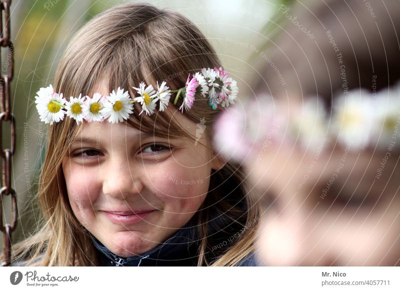 Young girl is about to have a laughing fit Youth (Young adults) Flower wreath Summer Hair and hairstyles Blossom Authentic naturally Emotions