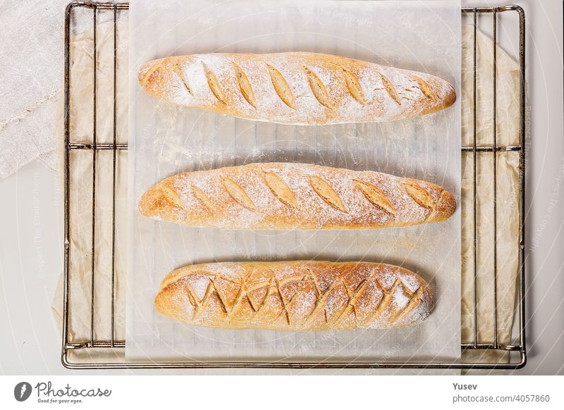 Homemade fresh mouth-watering sourdough baguettes. Homebaked bread. Top view homemade mouth watering sourdough bread homebaked top view loaf artisan bakery meal