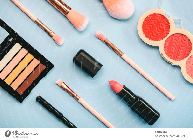 Different makeup female cosmetics and accessories.Make Up Beauty Fashion Concept make-up paint makeover makeup brush skincare gloss woman beautiful closeup