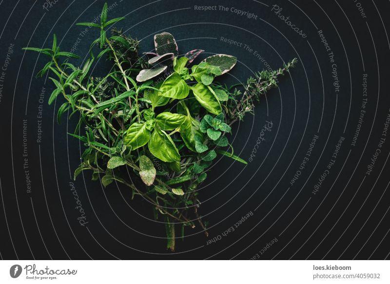 Modern styled bundle of Mediterranean herbs for cooking on black background mediterranean rosemary basil oregano thyme sage slate seasoning modern food fresh